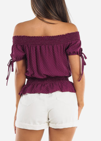 Off Shoulder Purple Polka Dot Crop Top