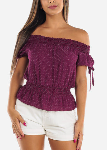 Stylish Sexy Off Shoulder Short Sleeve Elastic Detail Purple Polka Dot Top For Women Ladies Junior