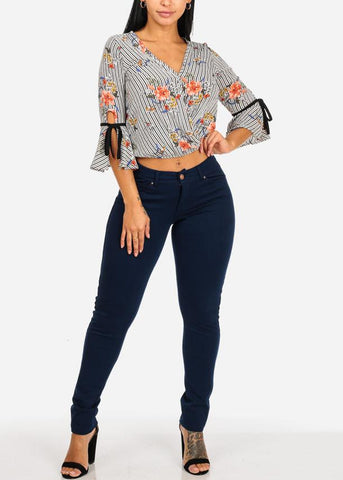 Lightweight Ruffle Floral Stripe Print Top