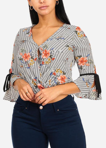 Image of Lightweight Ruffle Floral Stripe Print Top