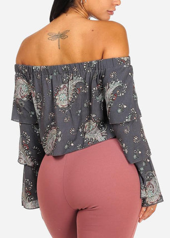 Image of Asymmetrical Floral Crop Top