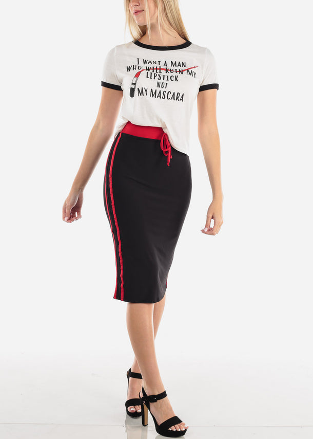 Casual Lipstick Graphic Top
