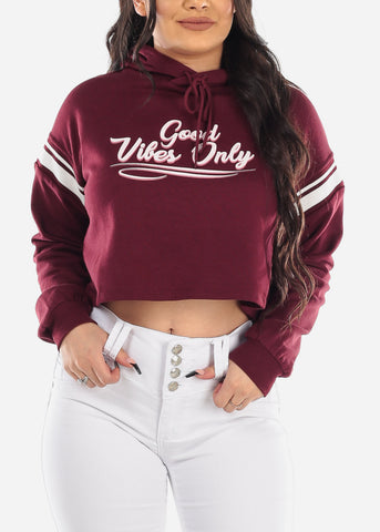 "Burgundy Cropped Sweater ""Good Vibes"""