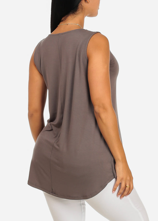 Sleeveless Basic Charcoal Tank Top