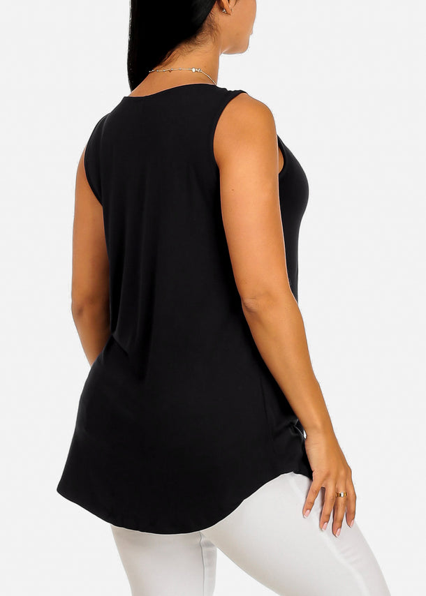 Sleeveless Basic Black Tank Top