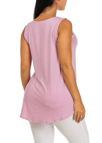 Image of Sleeveless Basic Pink Tank Top