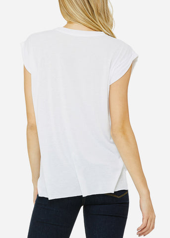 White Flowy Rolled Cuffs Muscle Tee