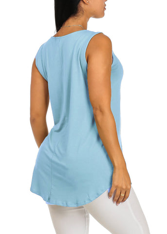 Image of Sleeveless Basic Light Blue Top