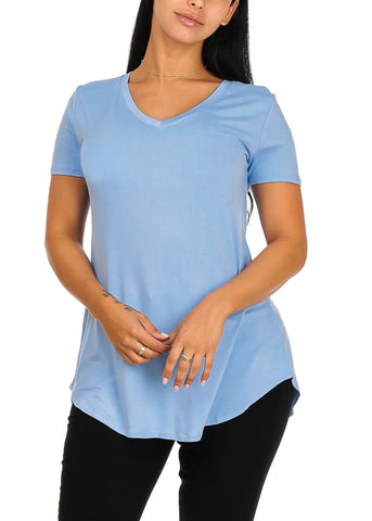Short Sleeve Basic Light Blue Top