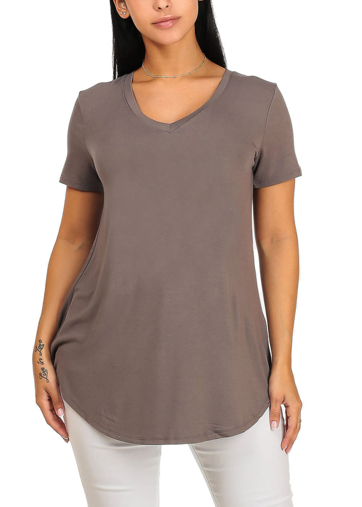 Short Sleeve Basic Charcoal Top