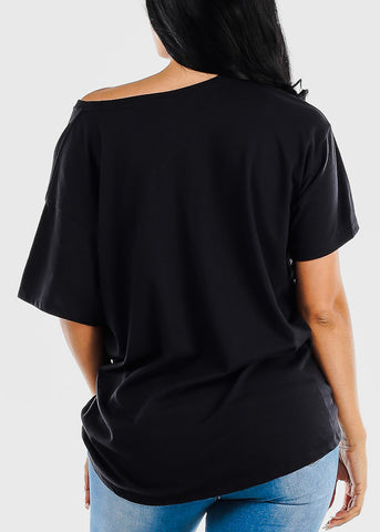 Short Sleeve Black Flowy Tee