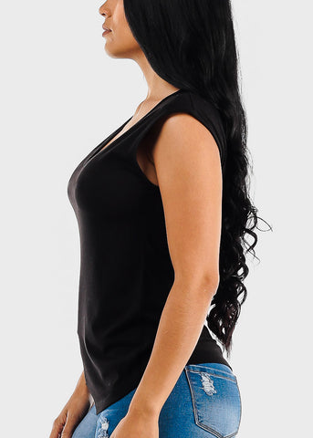 Image of Sleeveless V-Neck Black Top
