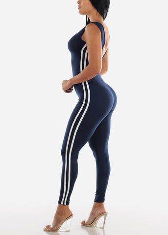 Image of Stripe Sides Navy Jumpsuit