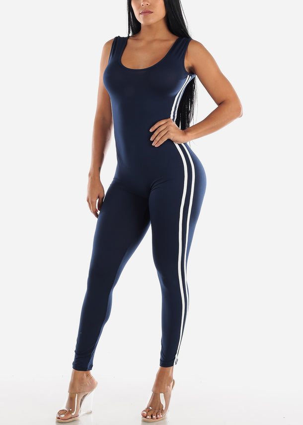 Stripe Sides Navy Jumpsuit