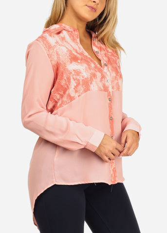 Image of Women's Junior Ladies Stylish Trendy Cute Long Sleeve Professional Formal Wear Chiffon Printed Button Up Pink Tunic Top