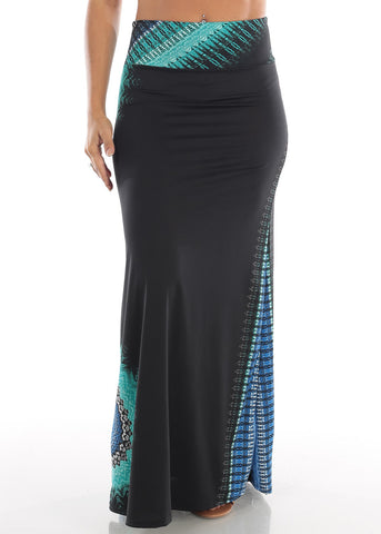 Cute Casual Super Stretchy High Waisted Printed Black Long Maxi Skirt For Women Ladies Junior On Sale Affordable Price