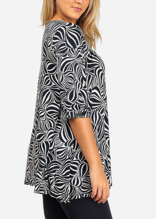 Print Navy Tunic Top