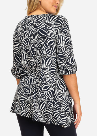 Image of Women's Junior Ladies Stylish 3/4 Sleeve Stretchy Navy Printed Long Tunic Top