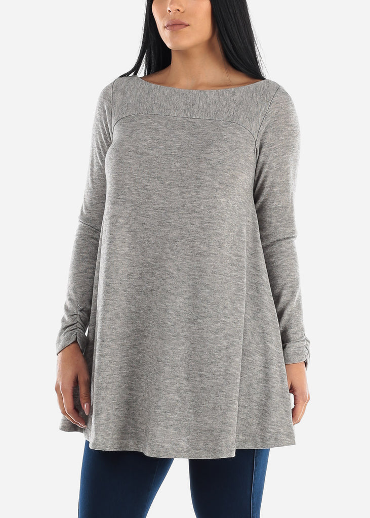 Back Cutout Grey Tunic Top