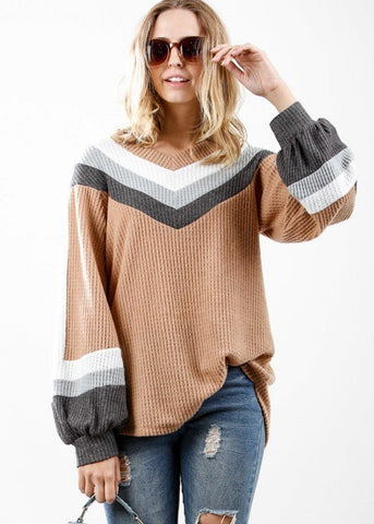 Image of Long Sleeve Multicolor Waffle Pullover