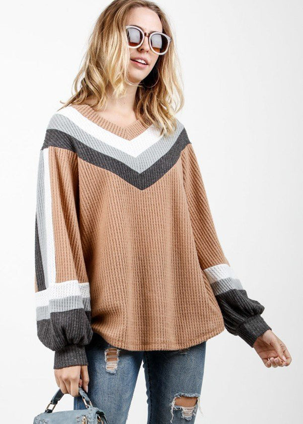Long Sleeve Multicolor Waffle Pullover