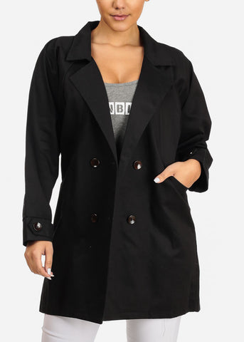 Front Pockets Black Trench Coat