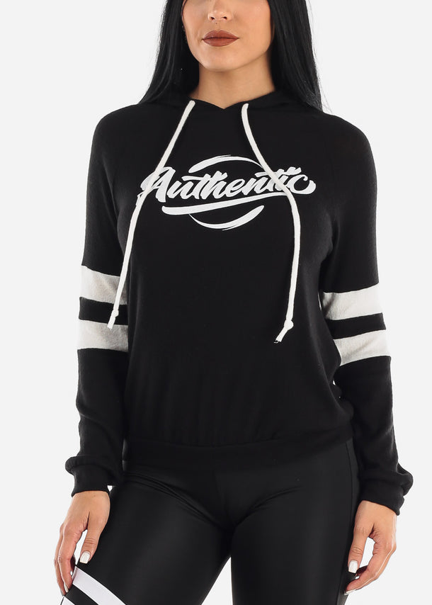 """Authentic"" Black Printed Hoodie"
