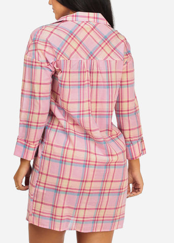 Image of Plaid Print Pink Tunic Dress