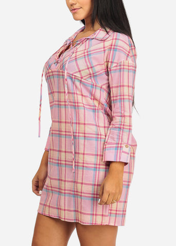 Plaid Print Pink Tunic Dress