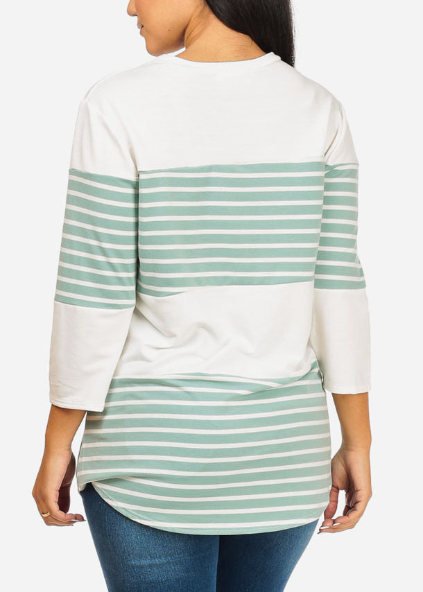 Green And White Stripe Tunic Top