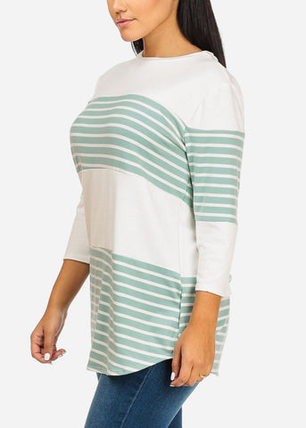 Image of Green And White Stripe Tunic Top