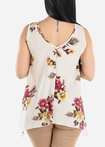 Floral Cream Tunic Top