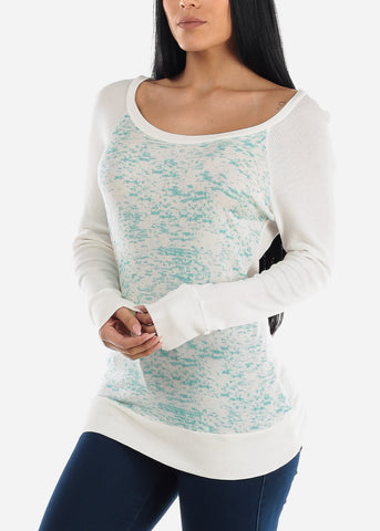 Mint & White Long Sleeve Tunic Top