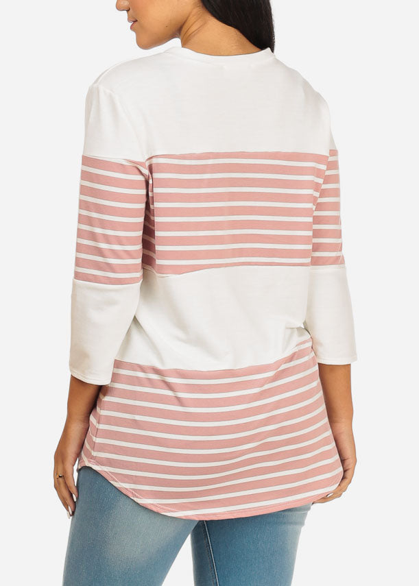 Pink And White Stripe Tunic Top
