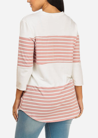 Image of Pink And White Stripe Tunic Top