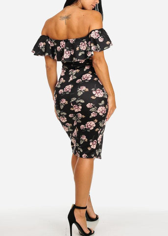 Image of Night Out Black Floral Off-Shoulder Sexy Dress