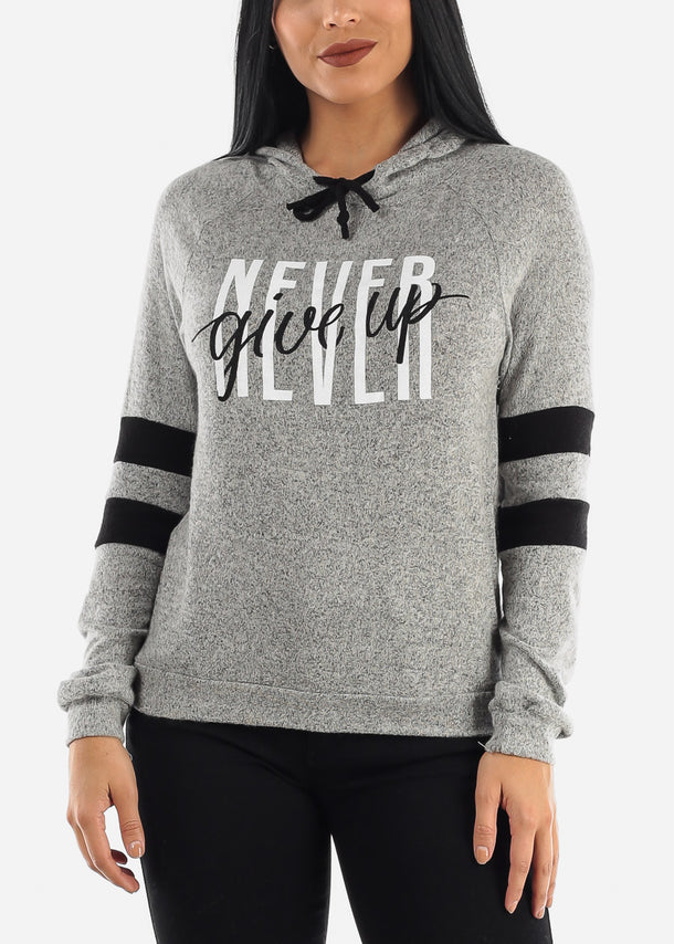 """Never Give Up"" Grey Hoodie"