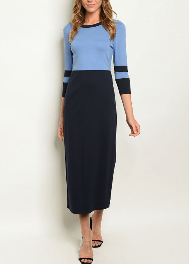 Colorblock Bodycon Navy & Blue Dress