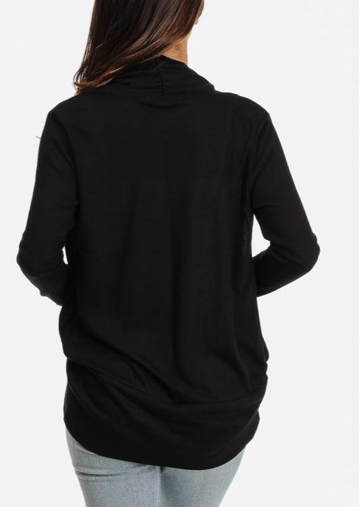 Solid Long Sleeve Open Cardigan (Black)