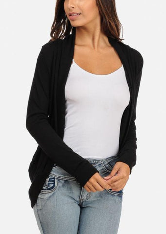 Classic Black Cardigan with rounded Hem