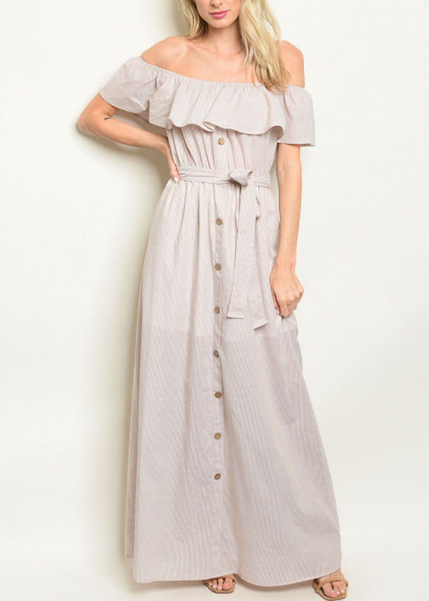 Off Shoulder Stripe Taupe Maxi Dress