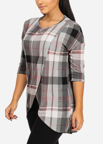 Image of Plaid Print Grey Tunic Top