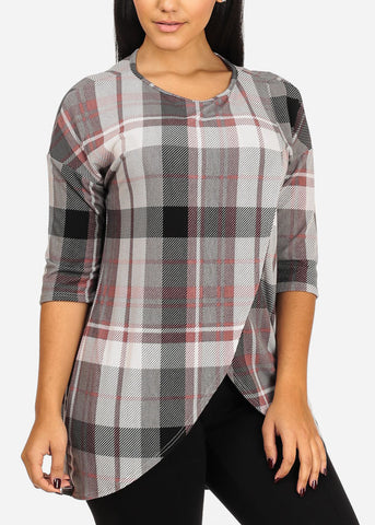 Plaid Print Grey Tunic Top