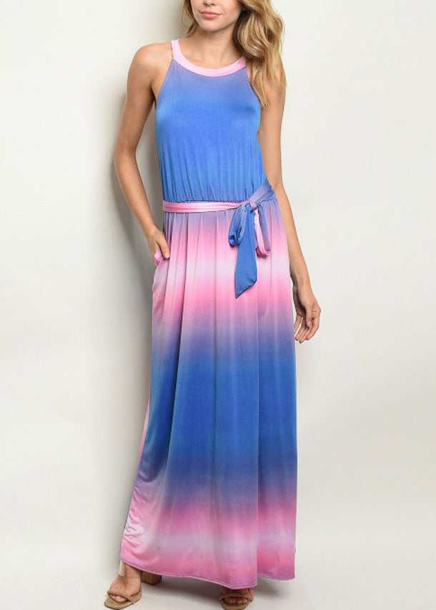 Tie Dye Pink & Blue Maxi Dress