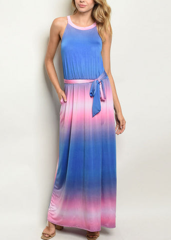 Image of Tie Dye Pink & Blue Maxi Dress