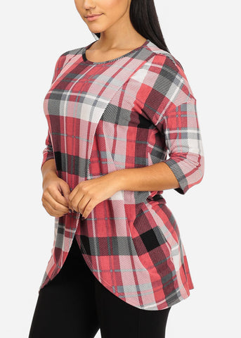 Image of Plaid Print Pink Tunic Top