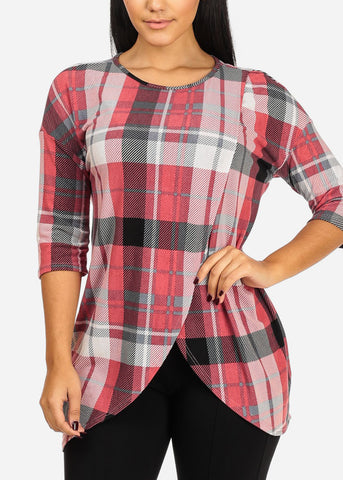Plaid Print Pink Tunic Top