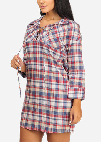Plaid Print Blue Tunic Dress