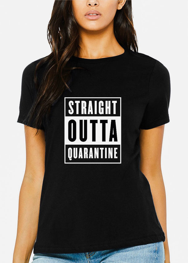 "Black Graphic Tee ""Straight Outta Quarantine"""