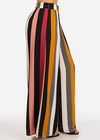 High Waist Stripe Wide Leg Pants